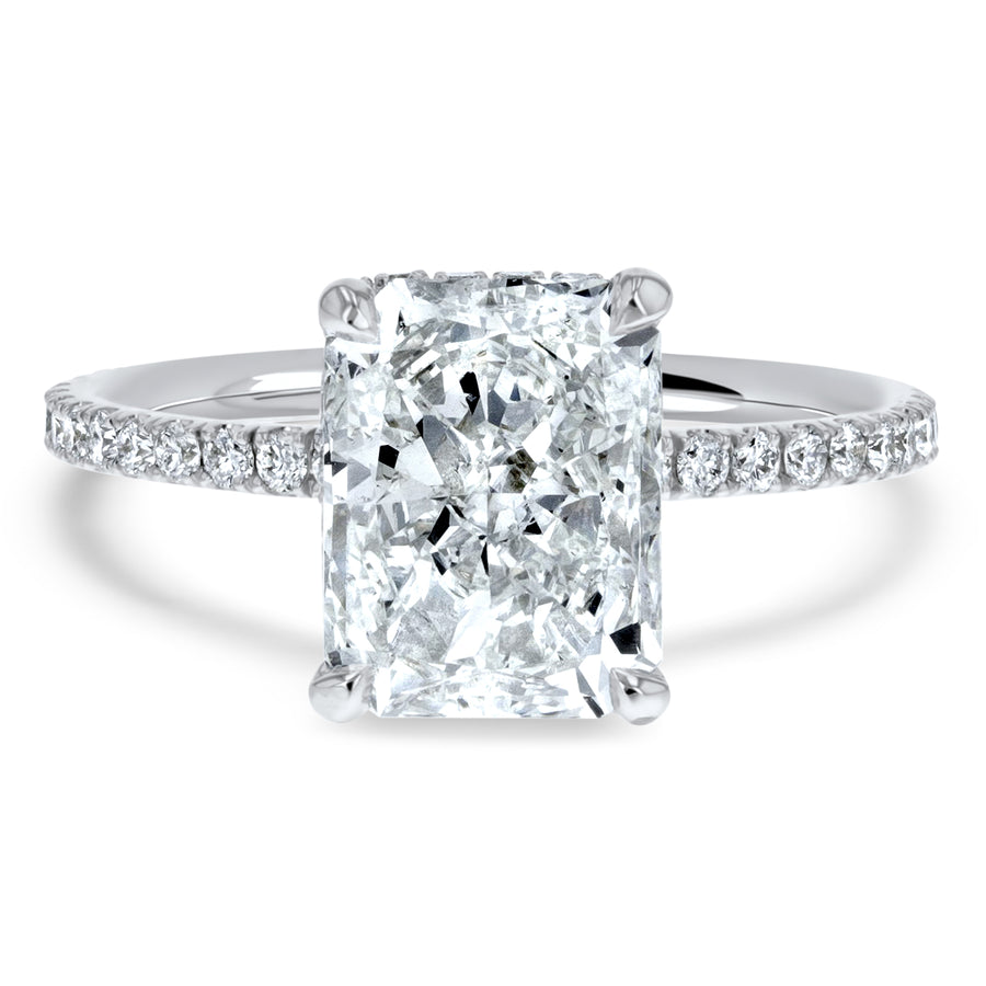 Radiant Cut Hidden Halo Diamond Basket Engagement Ring - R&R Jewelers