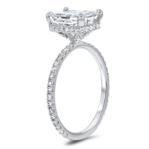 Radiant Cut Hidden Halo Diamond Basket Engagement Ring R R Jewelers