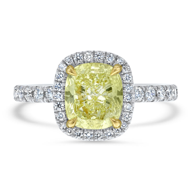 Cushion Cut Fancy Yellow Diamond Halo Engagement Ring - R&R Jewelers
