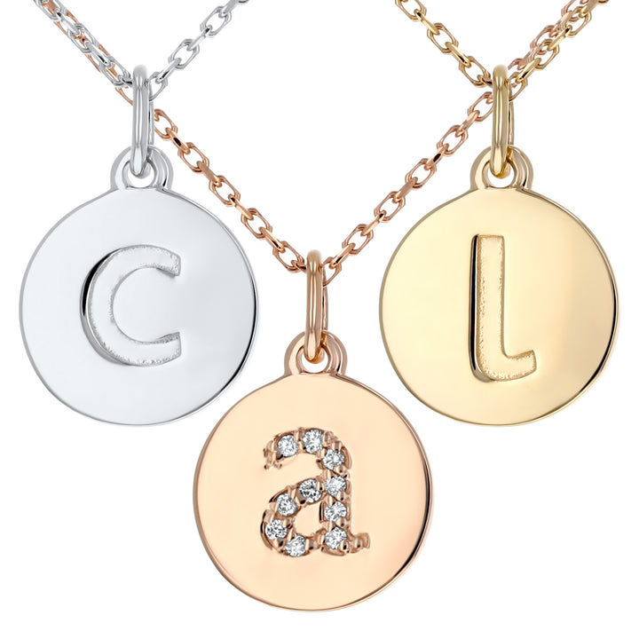Lowercase Initial Disc Pendant in 14K Gold - With Diamonds