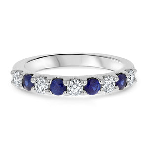 Alternating Diamond and Sapphire Band - R&R Jewelers