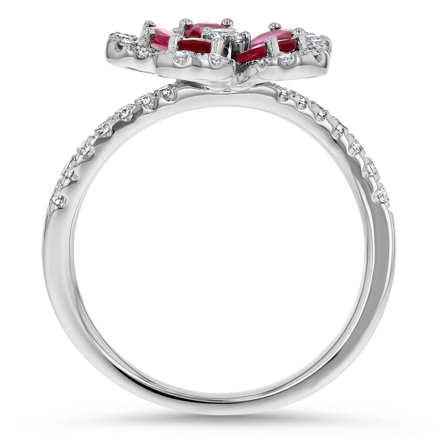 Diamond and Ruby Floral Ring