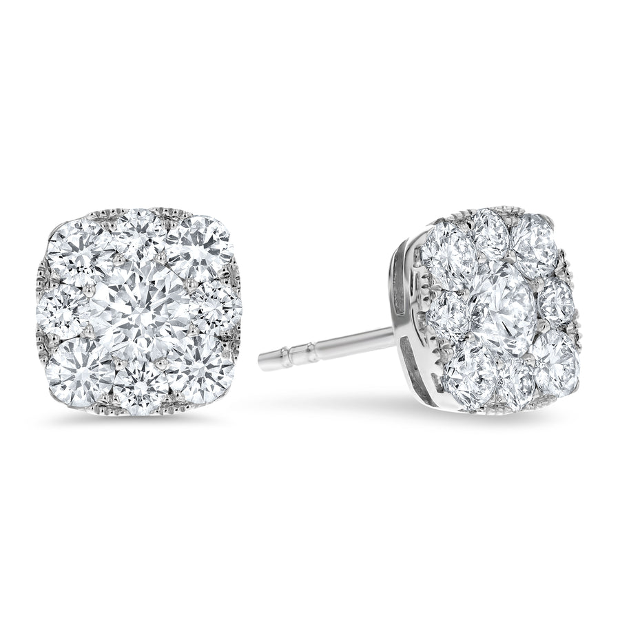 Diamond Cluster Stud Earrings, 1.35 ct - R&R Jewelers