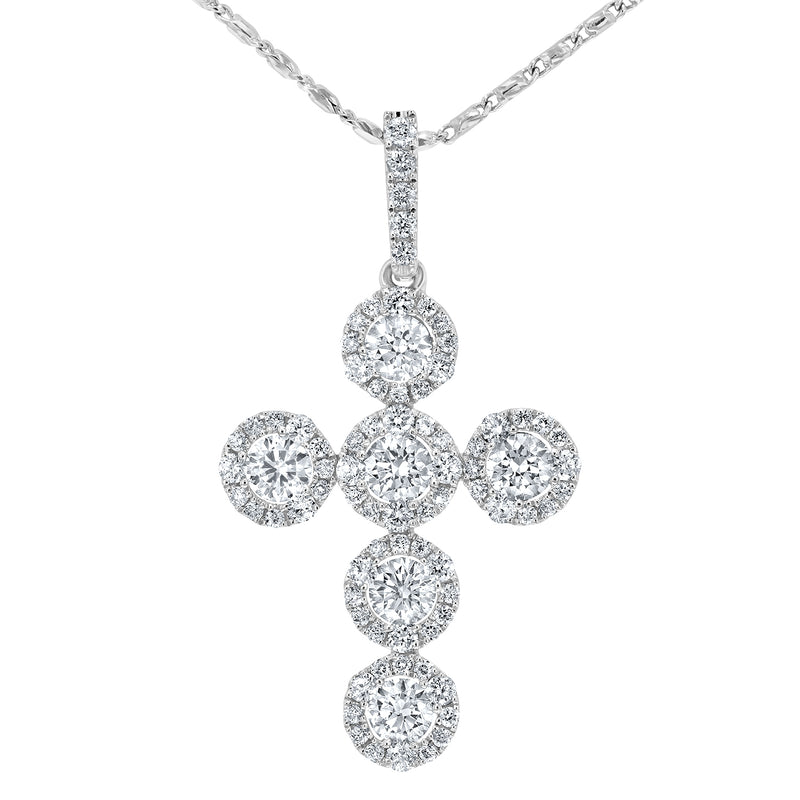 Round Brilliant Diamond Cross Pendant, 0.89 Carats - R&R Jewelers