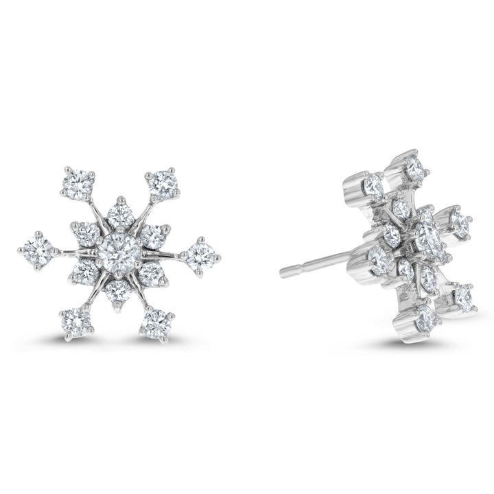 Diamond Snowflake Stud Earrings - R&R Jewelers