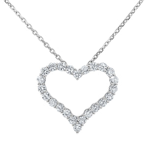 Open Heart Diamond Pendant, 0.95 Carats - R&R Jewelers