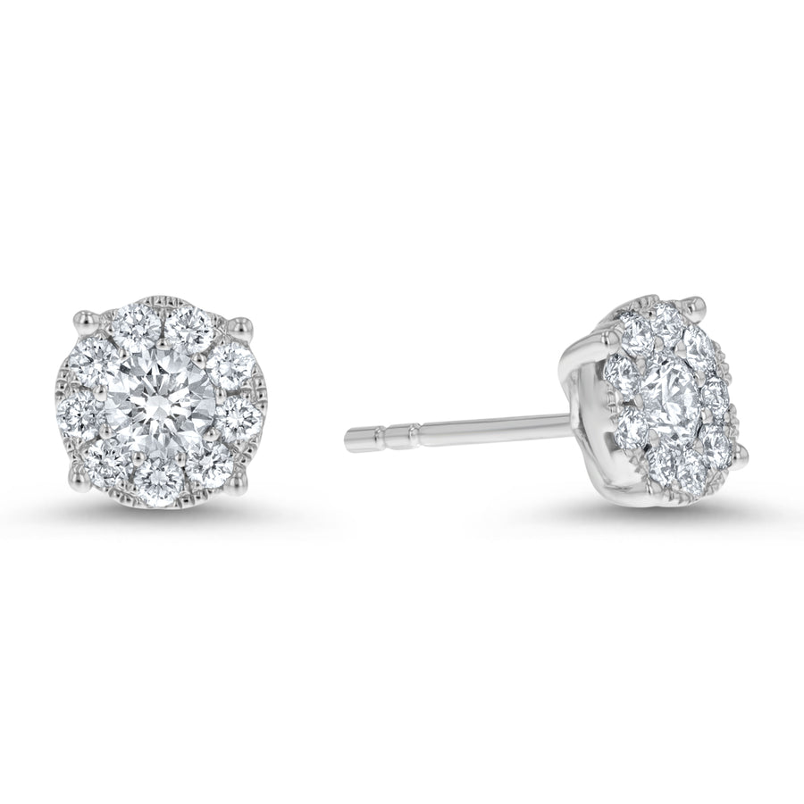 Diamond Cluster Stud Earrings, 0.71 ct - R&R Jewelers