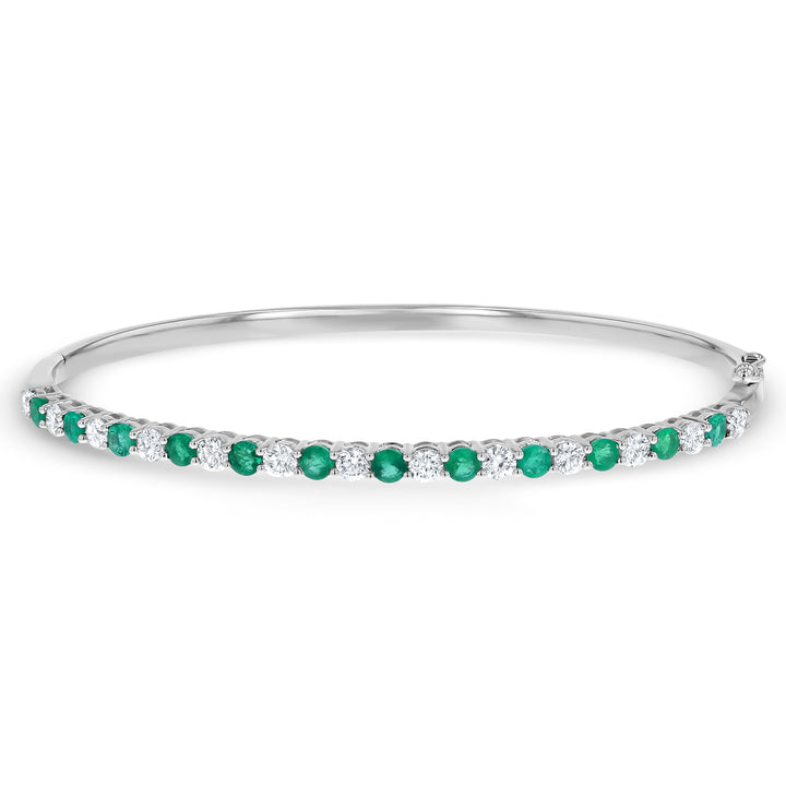 Alternating Diamond and Emerald Bangle Bracelet - R&R Jewelers