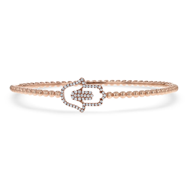 Beaded Diamond Hamsa Bangle - R&R Jewelers