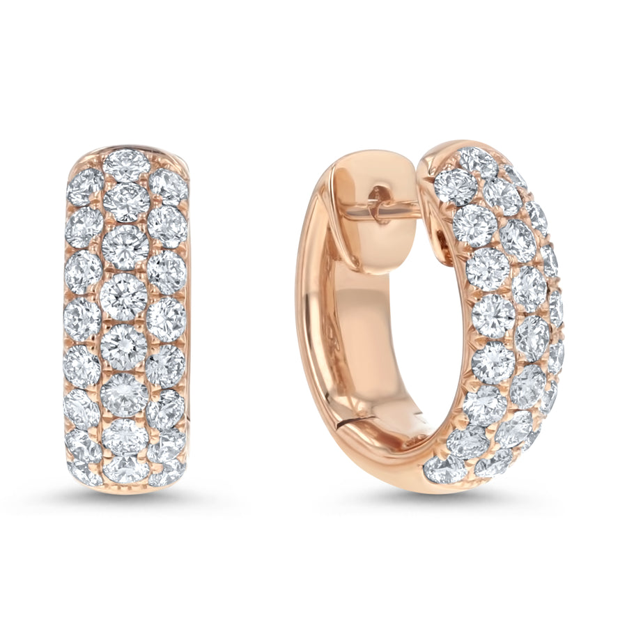 Diamond Pave Hoop Earrings, 1.32 ct - R&R Jewelers