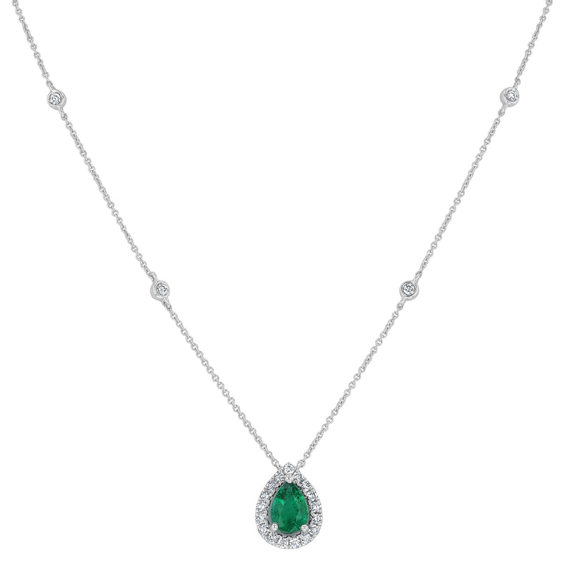 Diamond and Emerald Station Pendant - R&R Jewelers