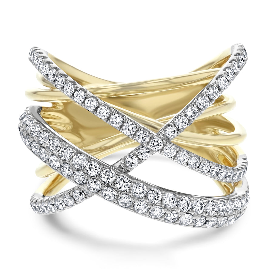 Diamond Cross Over Ring - R&R Jewelers