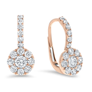 Diamond Cluster Drop Earrings, 0.94 ct - R&R Jewelers