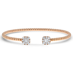 Beaded Diamond Cushion Cuff Bangle - R&R Jewelers