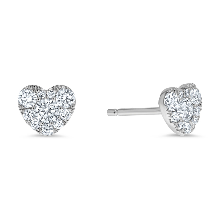 Heart Shape Diamond Cluster Stud Earrings - R&R Jewelers