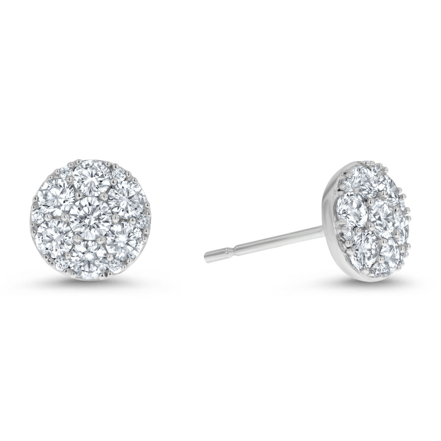 Diamond Cluster Stud Earring , 1.08 Carats - R&R Jewelers
