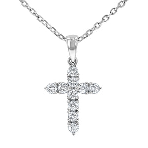 Round Brilliant Diamond Cross, 0.45 Carats - R&R Jewelers