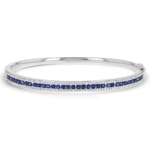 Diamond and Sapphire Channel Set Bangle - R&R Jewelers