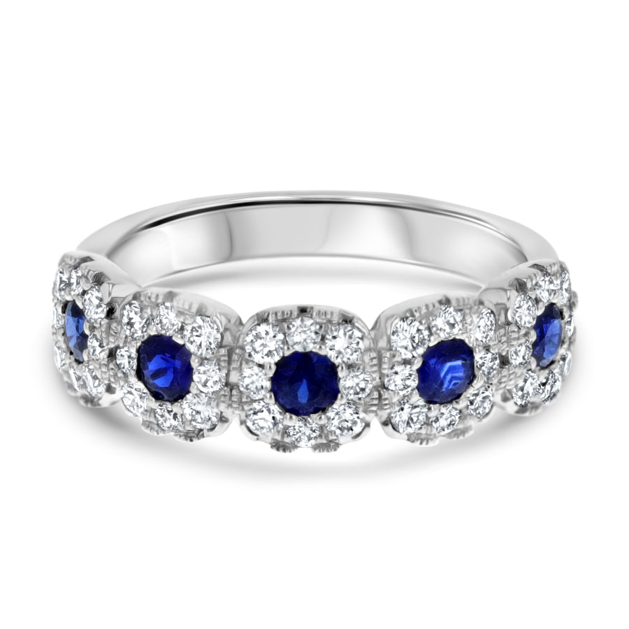 Sapphire and Diamond Halo Band