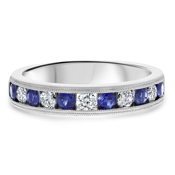 Alternating Channel Set Diamond and Sapphire Ring - R&R Jewelers