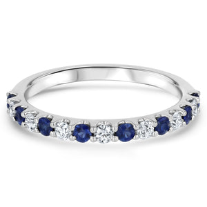 Alternating Sapphire and Diamond Halfway Band