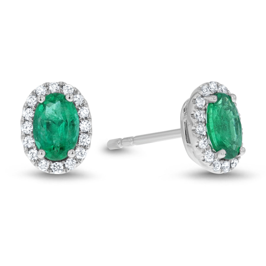 Diamond and Emerald Halo Stud Earrings - R&R Jewelers