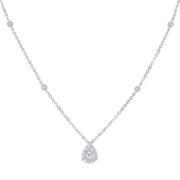Diamond Station Pear Shaped Pendant, 0.61 Carats - R&R Jewelers