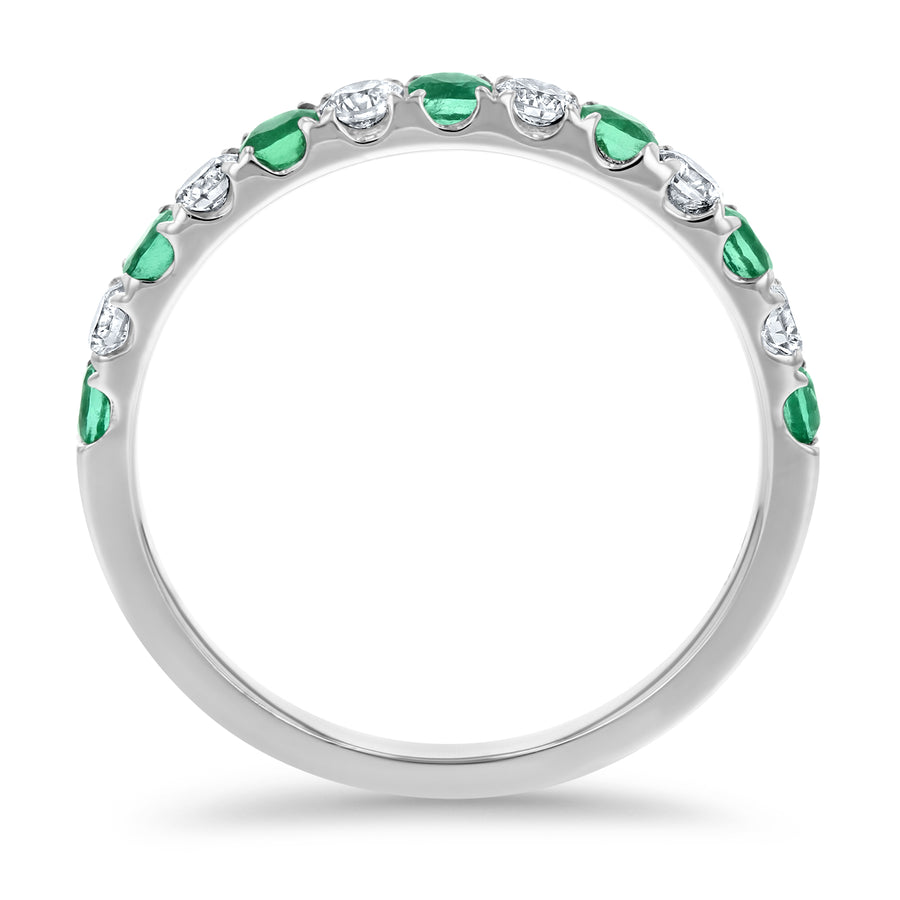 Alternating Diamond and Emerald Band - R&R Jewelers