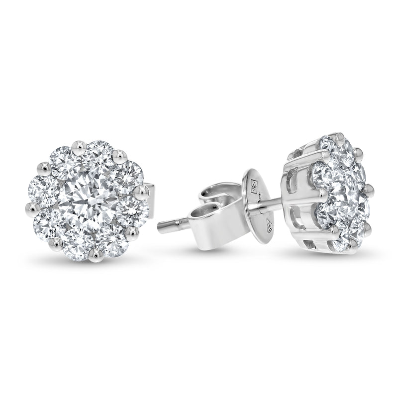 Diamond Cluster Stud Earrings, 1.44 ct - R&R Jewelers