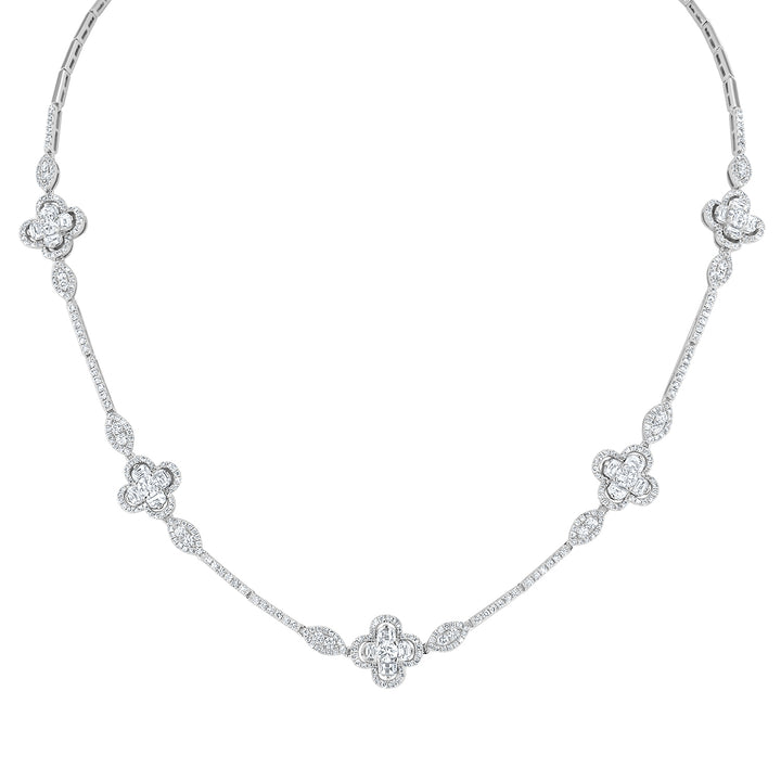 Diamond Clover Station Necklace - R&R Jewelers