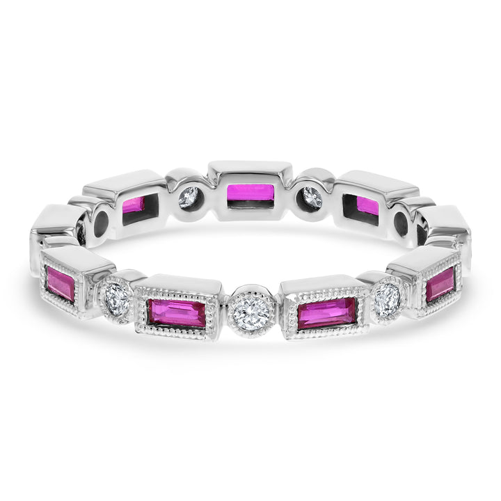 Art Deco Diamond And Ruby Eternity Band - R&R Jewelers