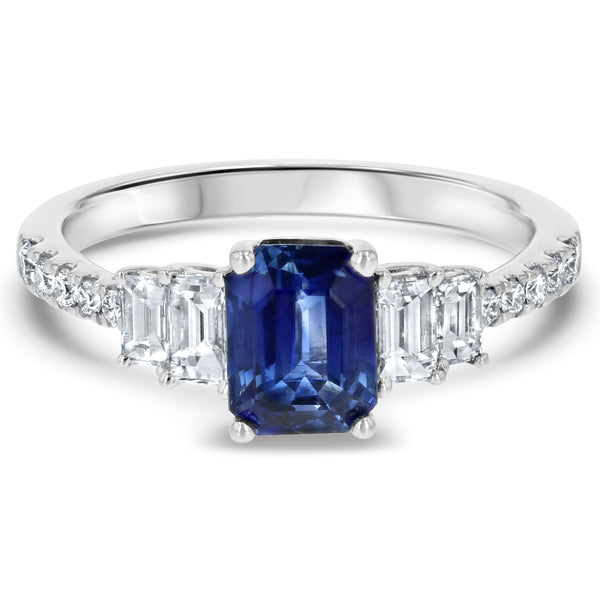 Sapphire and Diamond Tapered Engagement Ring - R&R Jewelers