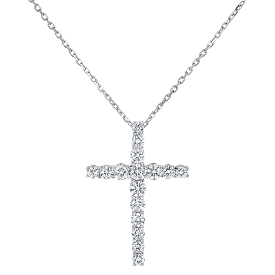 Round Brilliant Diamond Cross Pendant, 0.97 Carats - R&R Jewelers
