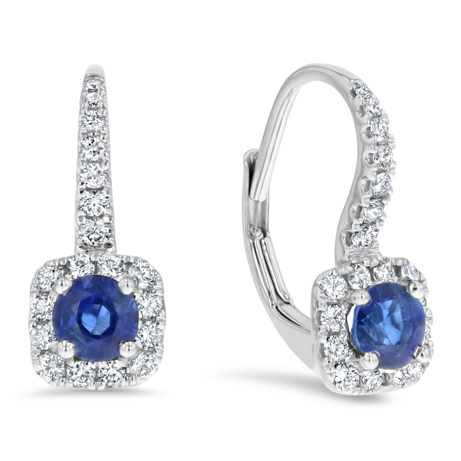 Diamond and Sapphire Drop Earrings - R&R Jewelers