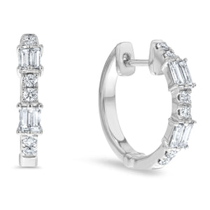 Round and Baguette Diamond Hoop Earrings - R&R Jewelers