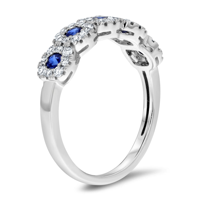 Petite Sapphire and Diamond Halo Band - R&R Jewelers