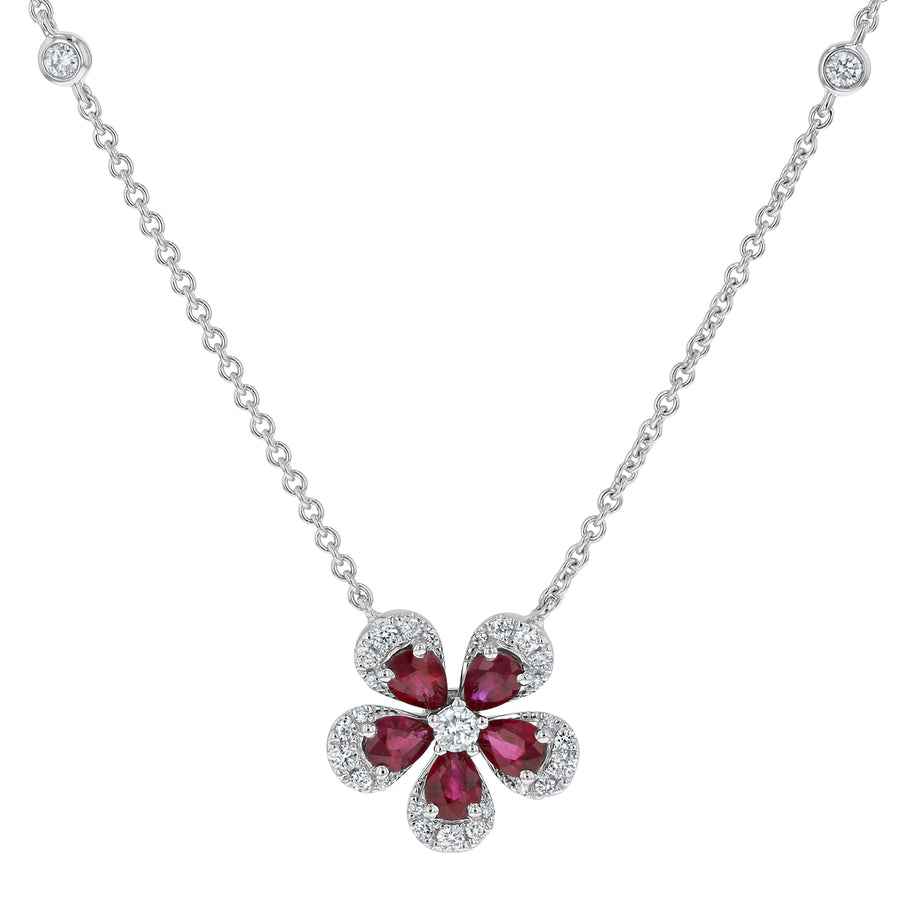 Diamond and Ruby Floral Pendant - R&R Jewelers