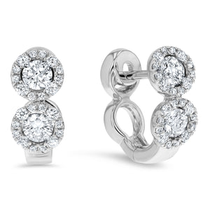 Dual Halo Round Diamond Huggie Earrings - R&R Jewelers