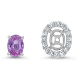 Diamond and Pink Sapphire Halo Stud Earrings - R&R Jewelers