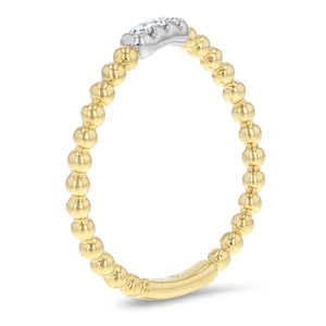 Curved Beaded Diamond Ring - R&R Jewelers