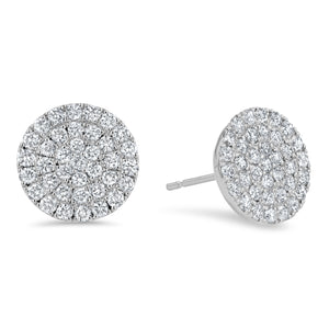 Diamond Cluster Stud Earrings, 1.25 ct