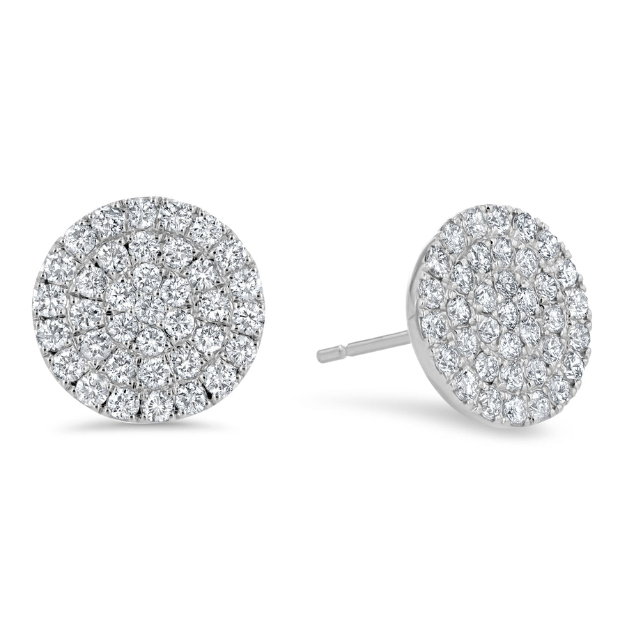 Circle Diamond Cluster Stud Earrings, 1.25 ct - R&R Jewelers