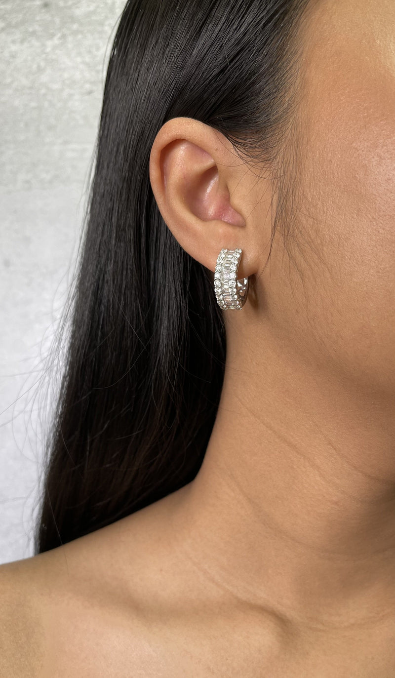 Baguette and Round Huggie Earrings (E0843)