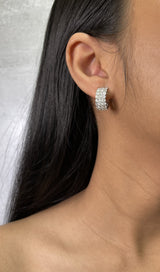 Three Row Diamond Huggie Earrings - R&R Jewelers