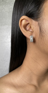 Round and Baguette Diamond Huggie Earrings