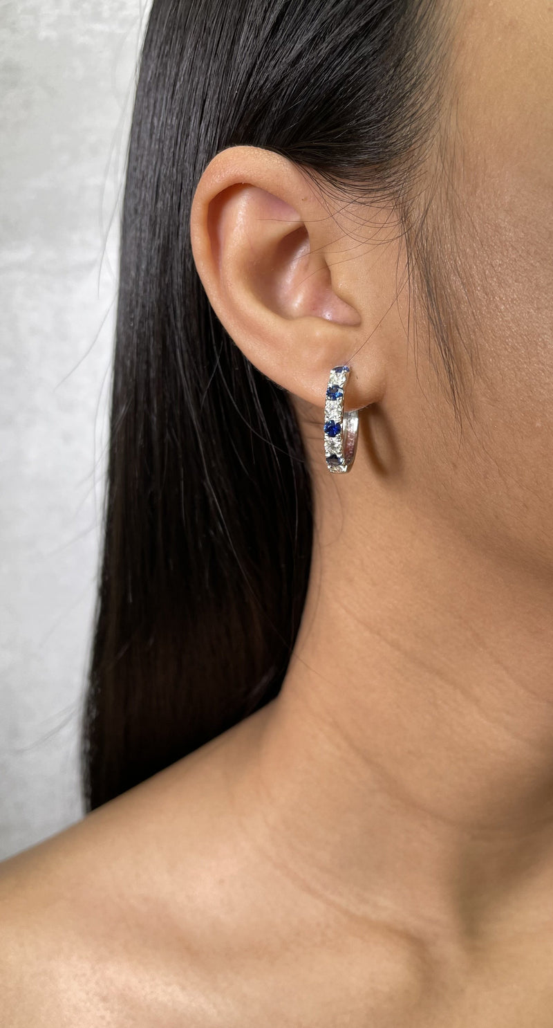 Alternating Diamond and Sapphire Hoop Earrings (E4202)