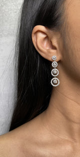 Diamond Halo Drop Earrings (E0993)