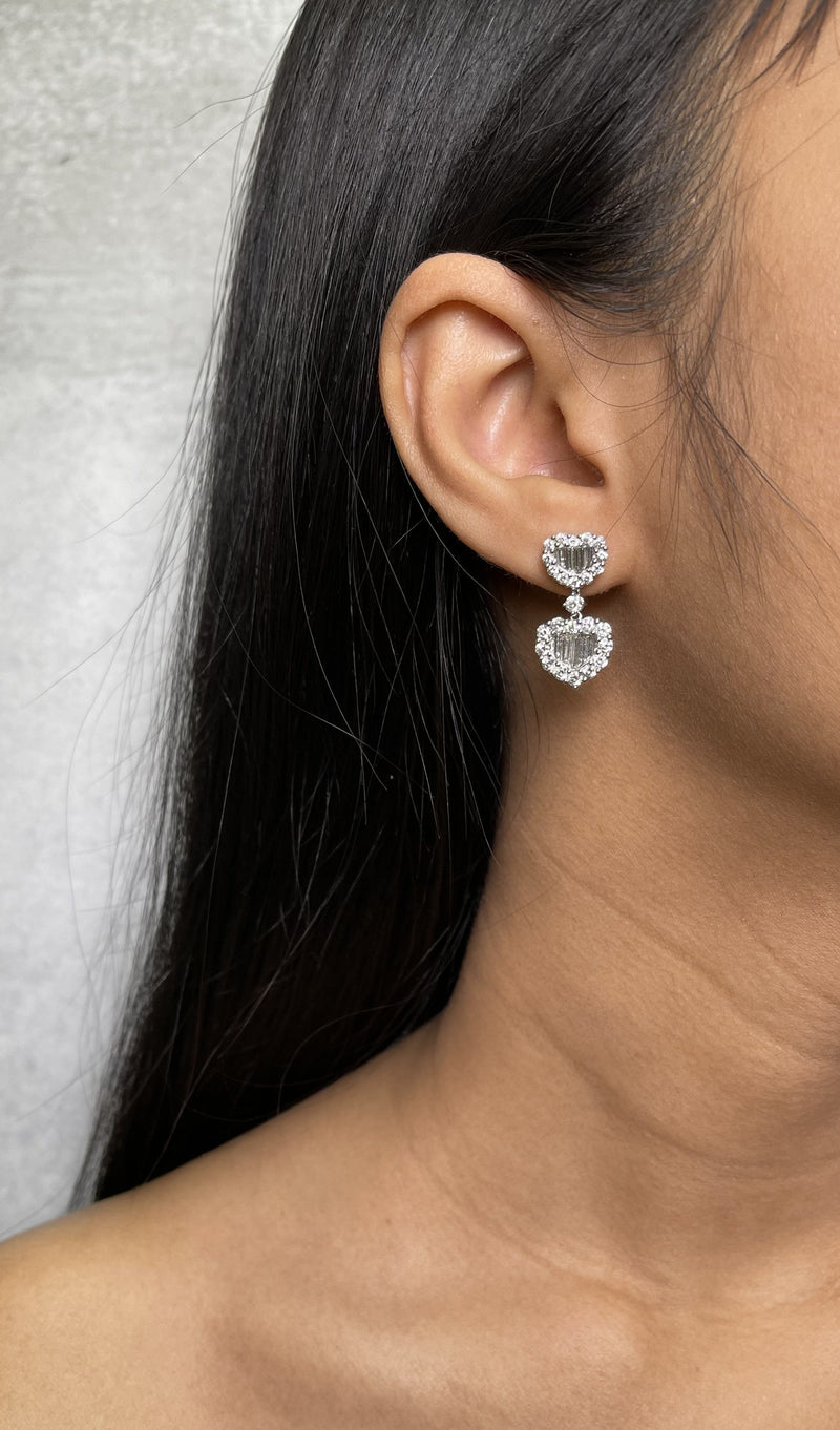 Heart Shape Diamond Baguette Drop Earrings (E1050)