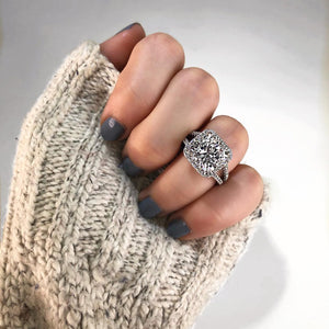 Cushion Halo Pavé Diamond Split Shank Engagement Ring - R&R Jewelers