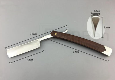 Folding Straight Razor - 440C Stainless Steel and Wood Handle